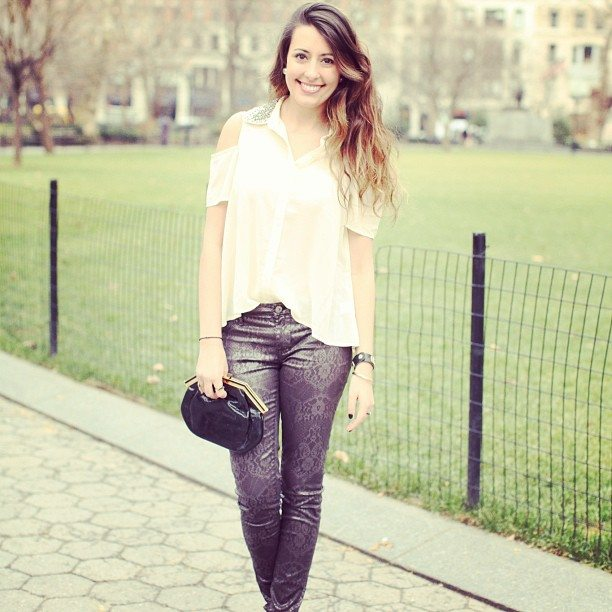 Blank Laced Skinny Jeans & Embellished Collar Blouse