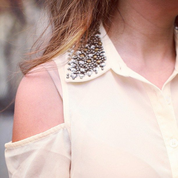 Nasty Gal Total Stud Blouse in Cream