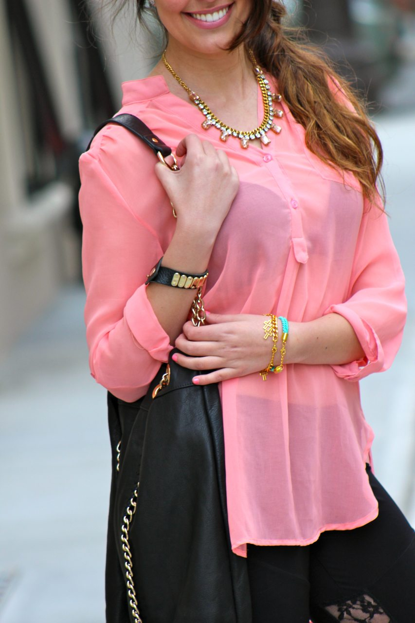 Nasty Gal Blouse, Karmaloop lace inset leggings, sabina leather tote, tory burch reva flats, yochi necklace, store v bracelets