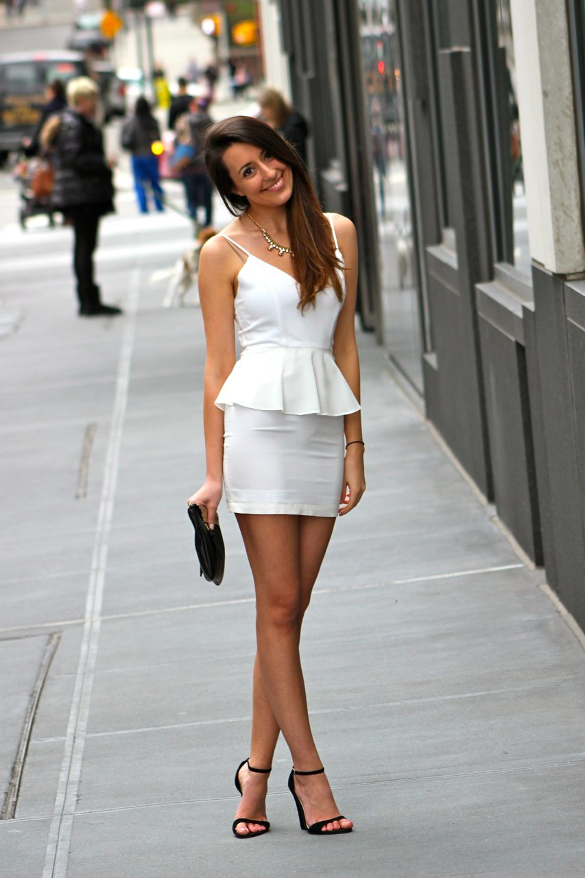 Jennifer Hope White Peplum Mini Dress, Steve Madden Suede Ankle Strap Wedges, Jess Rizzuti Ella Envelope Clutch, Yochi NY necklace