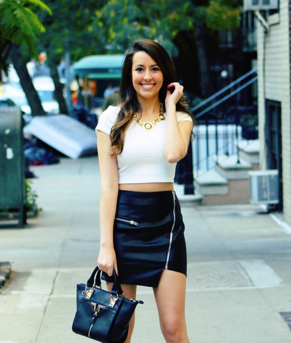 fall 2013 style asymmetrical leather skirt crop top