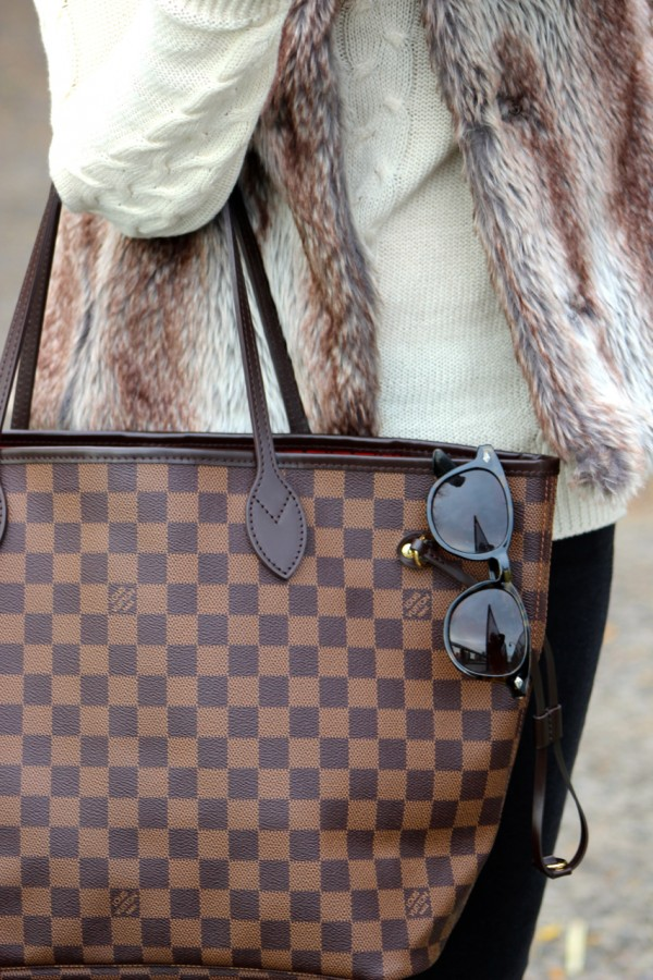 Louis Vuitton Neverfull tote bag & faux fur vest