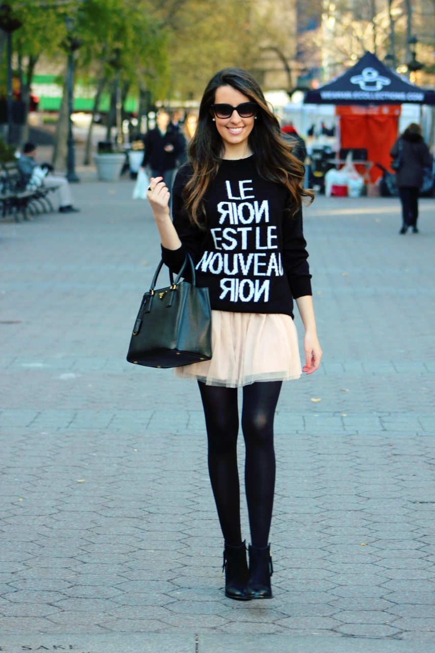 Cute Oversized Sweaters Tulle skirt w/ oversized