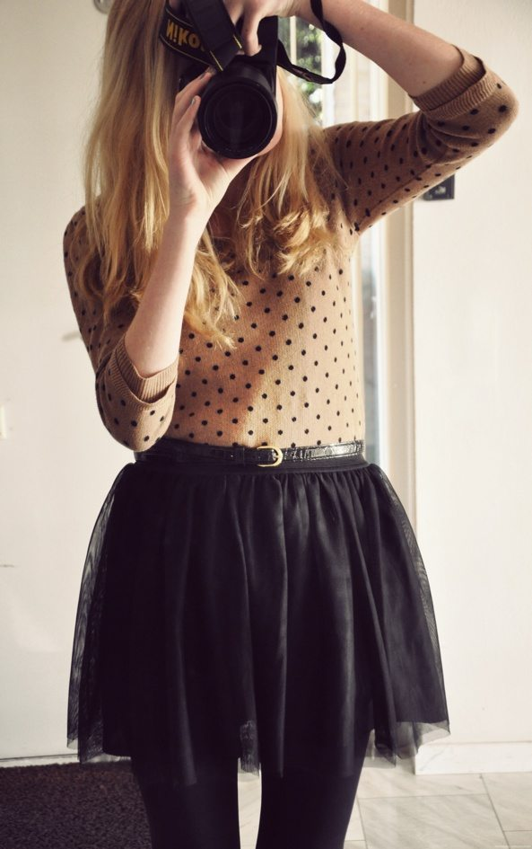 tulle skirt, sweater, tights winter 2013
