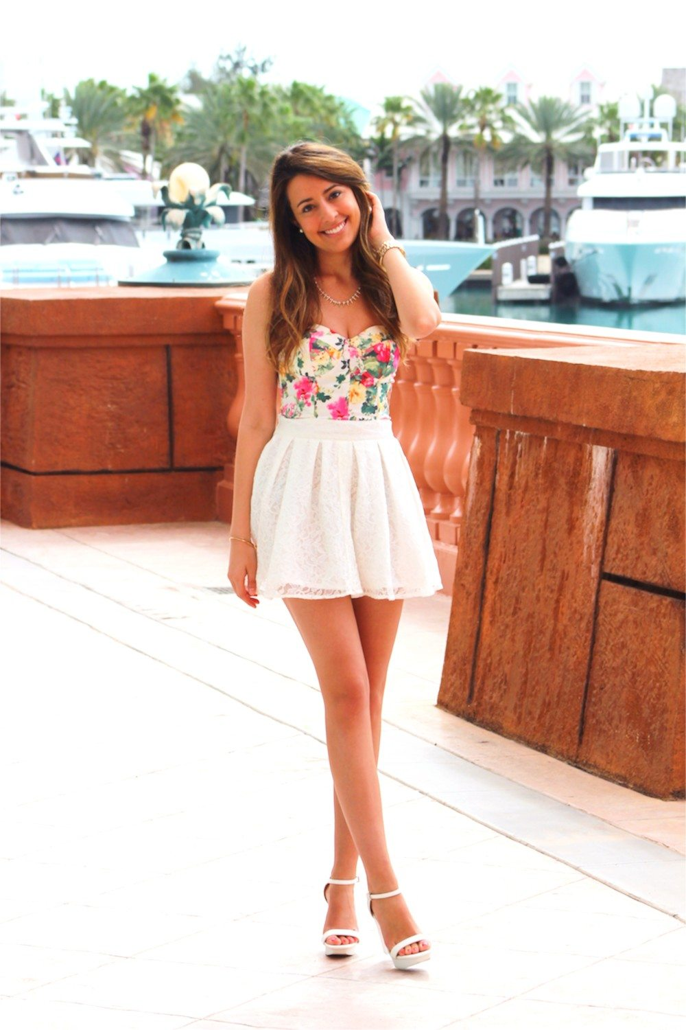 Cute spring summer outfit floral bustier lace skirt | Fashion HotBox