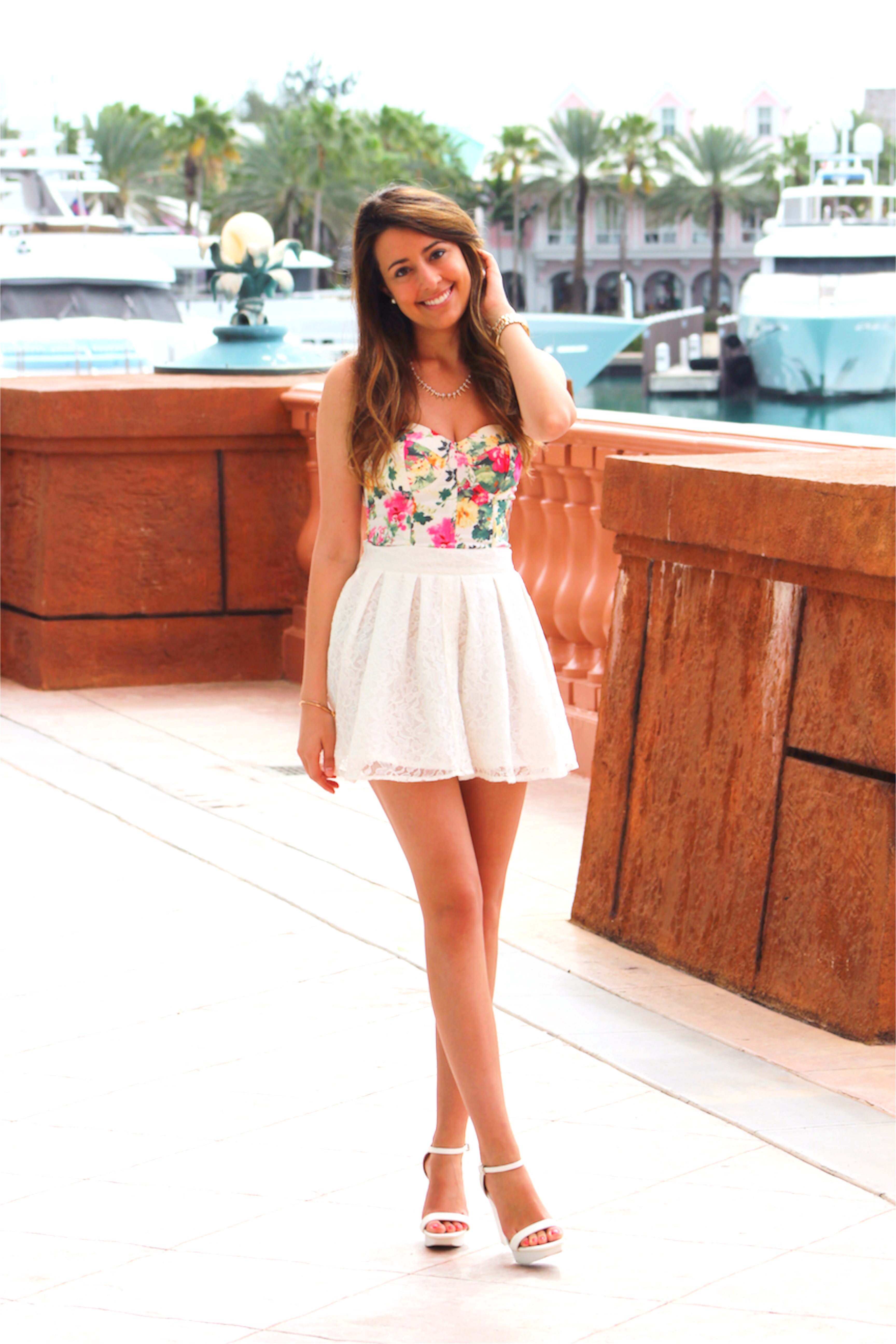 Cute spring summer outfit floral bustier lace skirt - Fashion HotBox