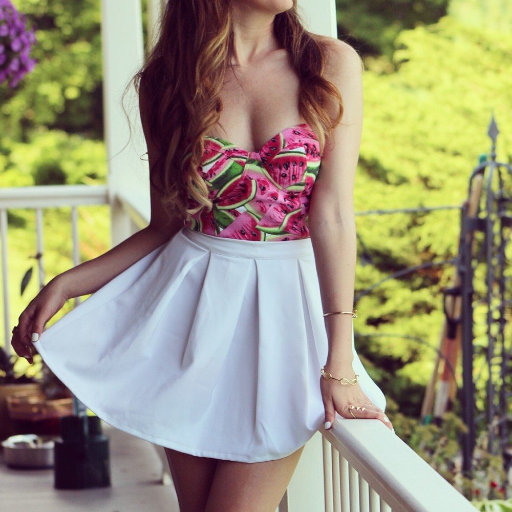 misstichy watermelon bustier cute summer outfit