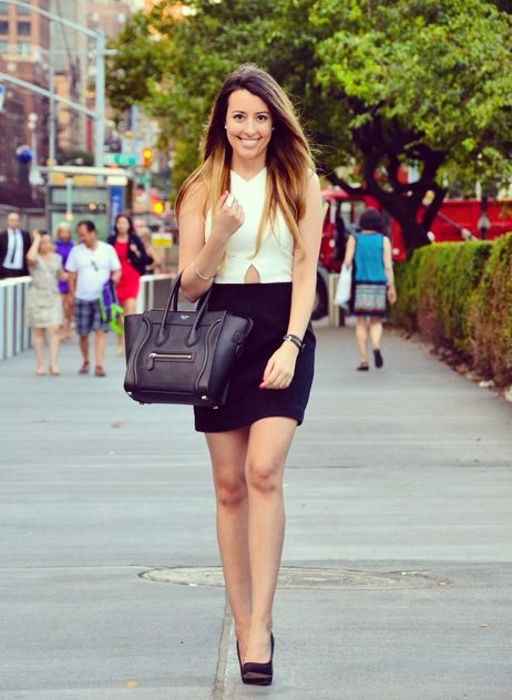 cute professional work outfit celine tote