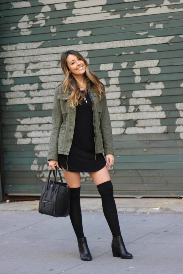 cute fall outfit - utility jacket and high socks
