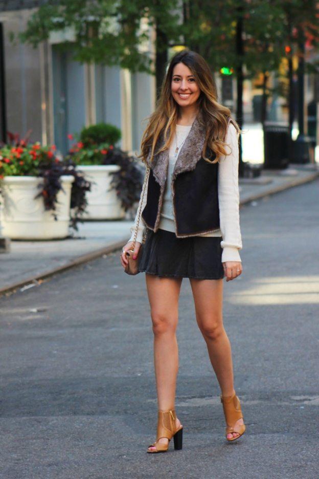 faux fur vest brandy melville fall outfit