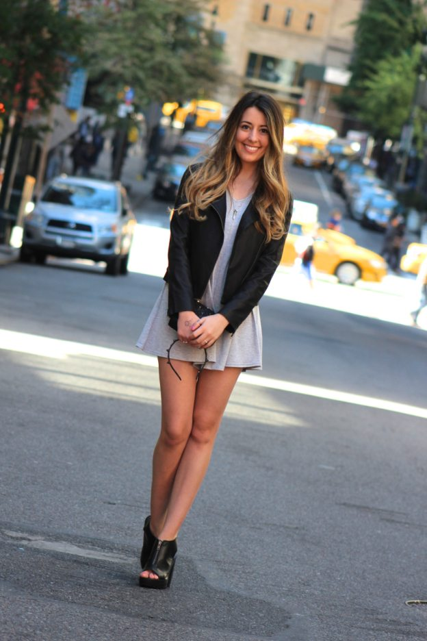 chic fall outfit with leather jacket and romper
