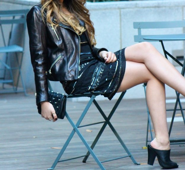 Moments of Chic Piperlime Sequin Dress and leather jacket