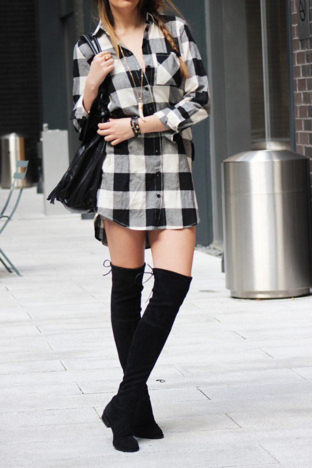 boyfriend checkered dress and shirt - cute outfit