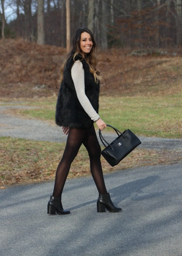 cute fall outfit shorts tights boots and faux fur vest