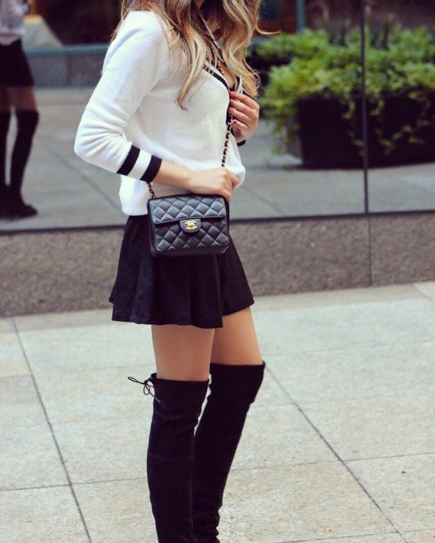 sophisticated fall style with over the knee boots