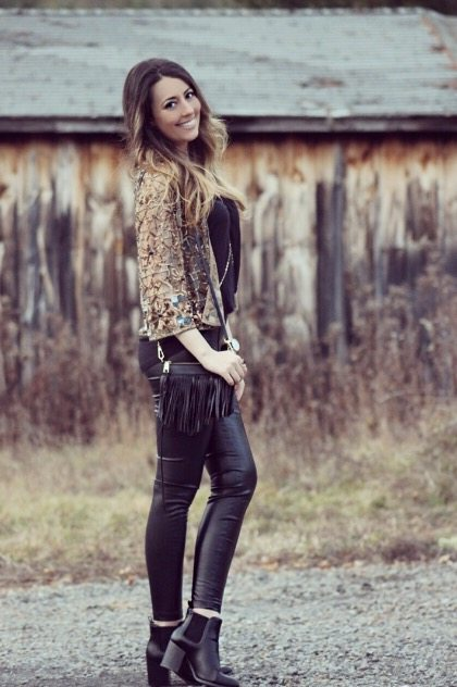 Sequin Jacket & Leather pants fall outfit