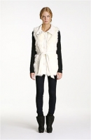 Via Spiga Faux Rabbit Fur & Knit Vest