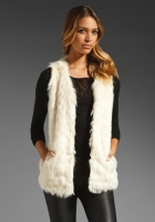 BB Dakota Scotlyn Textured Faux Fur Vest in Ivory