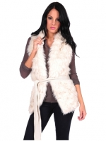 Costa Blanca Belted Fur Vest in Natural