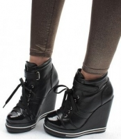 Wedge-Heels Sneakers Buckles Womens Shoes high black