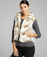 Adrienne Landau Light Brown Rabbit Fur Standing Collar Vest