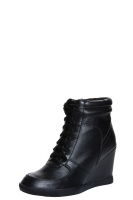 Elyssia Black Leather Look Lace Up Hi Top Wedge