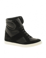 ASOS DENY Wedge High Top Sneakers With Suede Detail