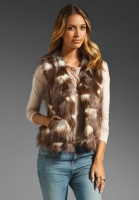 BB Dakota Lexi Faux Fur Vest in Brown