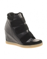 ASOS DOUBLE TROUBLE Wedge Sneakers with Velcro and Suede Detail