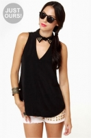 Collared Queens Sleeveless Black Top