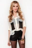 Chains of a Lifetime Ivory Button-Up Top