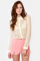 Apple of My Eyelets Cream Lace Button-Up Top