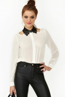 Perforated Chiffon Blouse