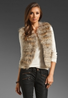 WISH Vintry Fur Vest in Copper Flecks