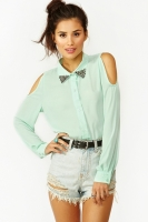 Studded Cutout Blouse in Mint