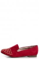Jojo 06 Red Studded Smoking Slipper Flats