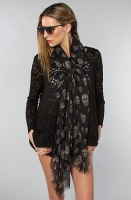 *Accessories Boutique:The Skull Scarf in Black and Gray, Scarves for Women