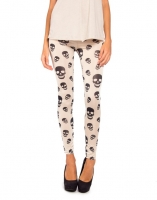 Cream Skull Leggings