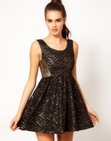 Hunt No More 'Like a Soldier' Sequin and Lace Skater Dress