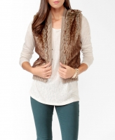 Forever 21 Faux Fur & Cable Knit Vest