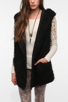 Evil Twin Two-Way Hooded Faux Fur Vest at Urban Outfitters
