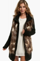 BB Dakota Miko Faux Fur Wool Belted Coat