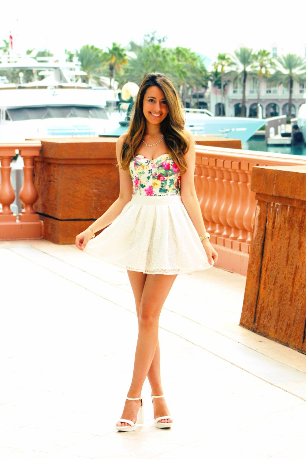 044247516869 ... cute spring summer outfit floral bustier lace skirt